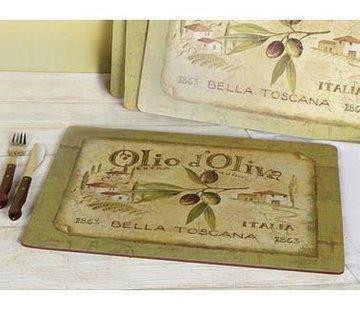 KitchenCraft; Engelse Kwaliteitsprodukten Placemats groot Olio d'Olivia, italie set/4