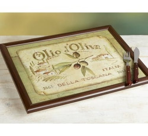 KitchenCraft; Engelse Kwaliteitsprodukten Laptray Olio d'Olivia, Schootkussen Italie
