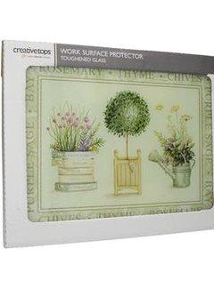 KitchenCraft; Engelse Kwaliteitsprodukten Werkblad beschermer/Glazen Snijplank Topiary - Planten