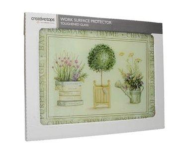 Creative Tops; Engelse Kwaliteitsprodukten Werkblad beschermer/Glazen Snijplank Topiary - Planten
