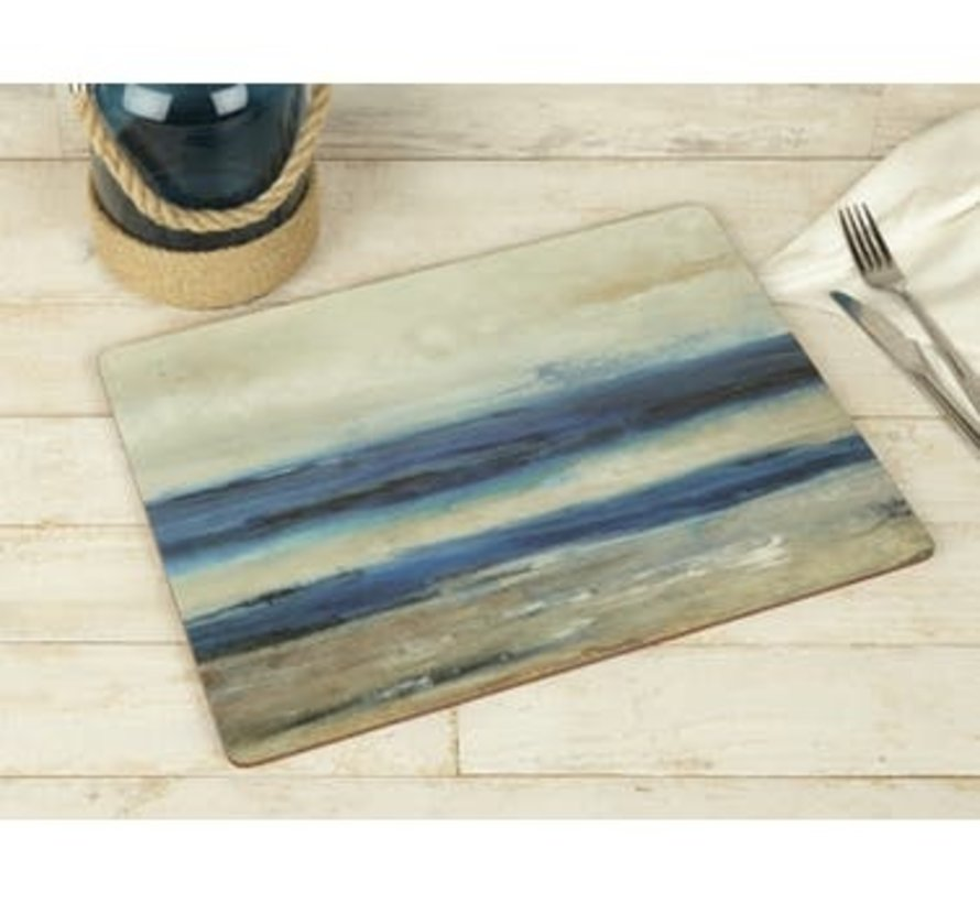 Set van 4 grote Placemats blauw - Blue Abstract