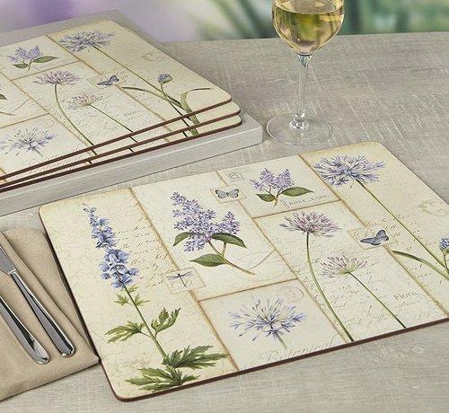 KitchenCraft; Engelse Kwaliteitsprodukten Placemats Etude de Fleur, blauwe bloemen