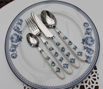 Katie Alice Vintage Indigo; Compleet Engels Servies Blauw Wit 16 delig - Bestekset blauw en wit