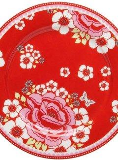 Room  Seven Gebaksbordje, ontbijtbordje Rosa, rood met bloemen