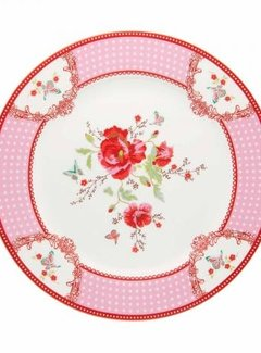 Room  Seven Copy of Gebaksbordje Rosa, rood met bloemen