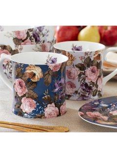 Katie Alice Wild Apricity; Compleet Engels Jachtservies met bloemen Mok, Blauw met bloemen