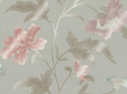 Little Green Behang China Rose - French Grey  Lustre