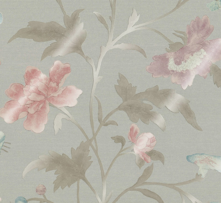 Little Greene Behang Archive Trails China Rose French Grey Lustre