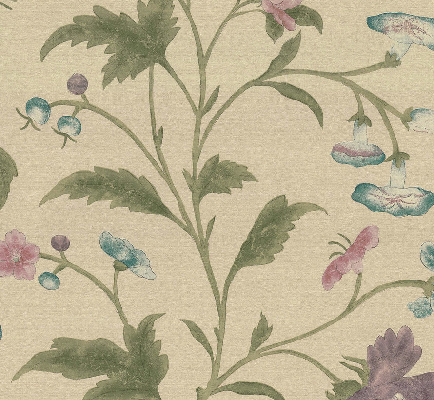 Little Greene Behang Archive Trails China Rose Sage