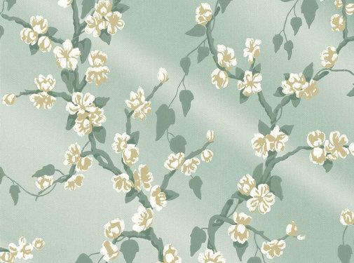 Little Green Behang Sakura-Aqua Lustre