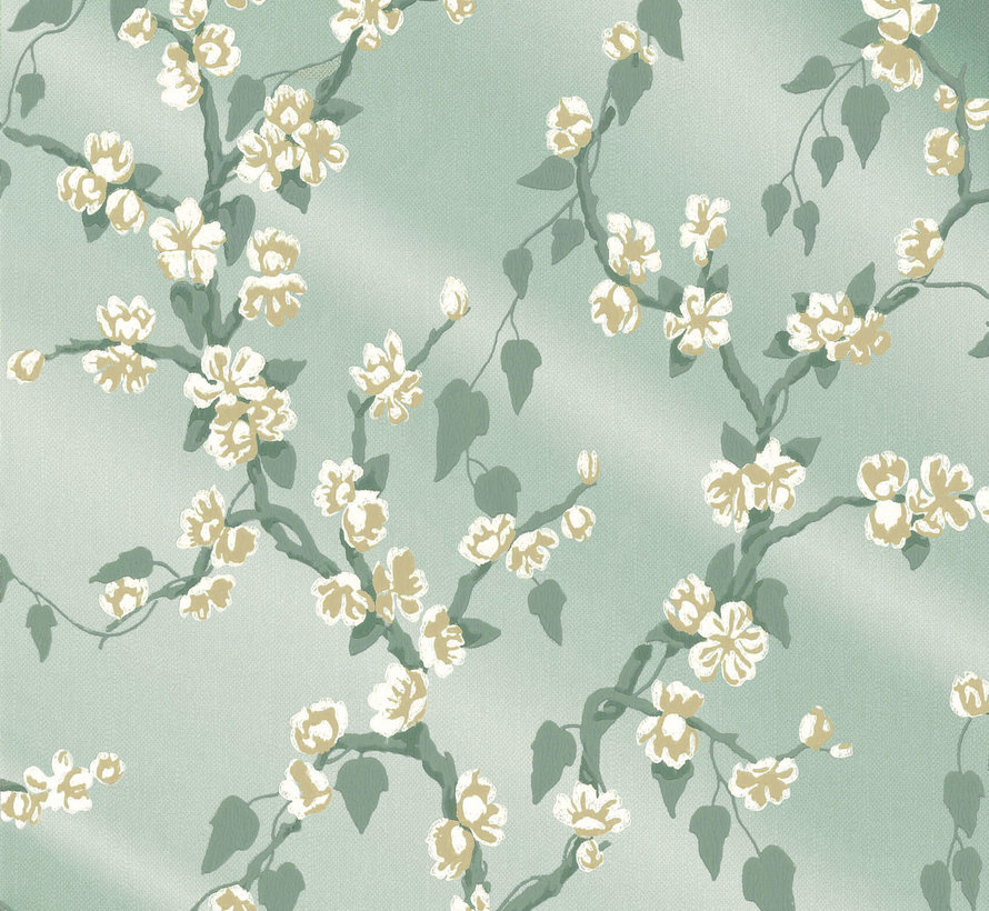 Little Greene Behang Archive Trails Paradise Aqua Lustre