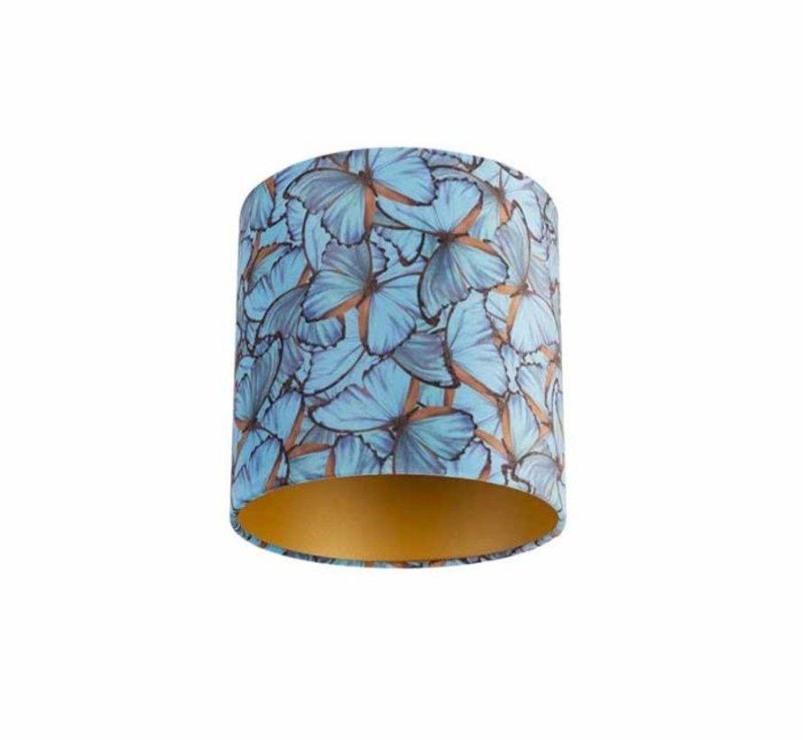 Lampenkap fluweel blauwe vlinder 15x15x15