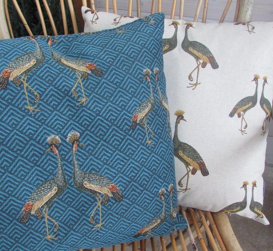 Sierkussen Kraanvogel blauw 50x50cm.