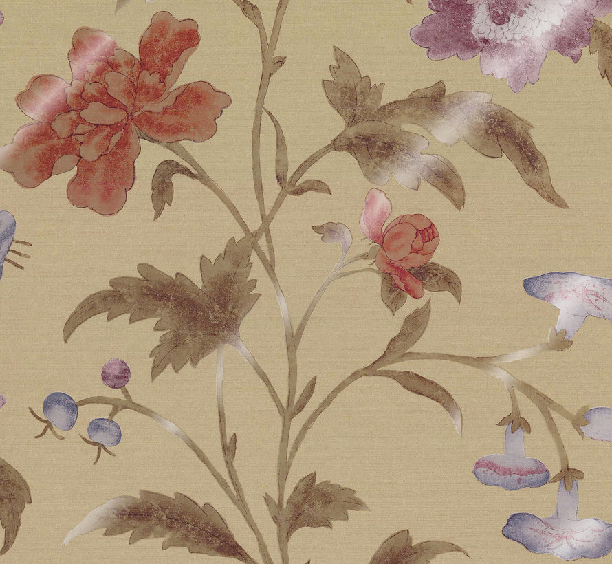 Little Greene Behang Archive Trails China Rose Bronze