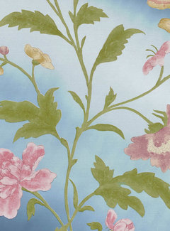 Little Green Behang Archive Trails China Rose Blue Lustre