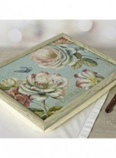 KitchenCraft; Engelse Kwaliteitsprodukten Schootkussen, laptray met afbeelding romantic garden