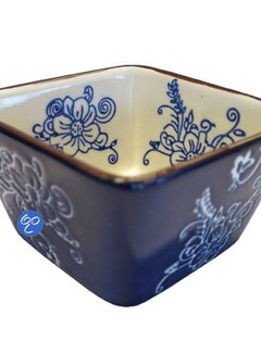 Lavandoux-Ceramics; Prachtige ovenschalen Tapas / Ovenschaaltje Floral Lace Blue vierk 9 cm.
