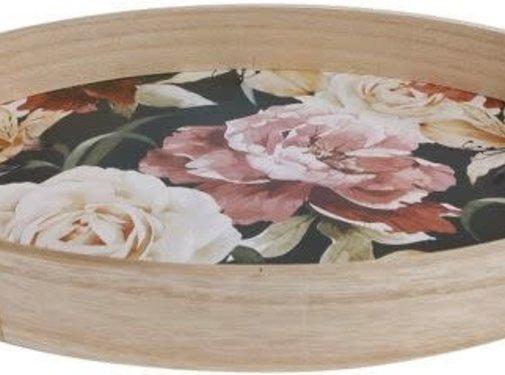 Zisensa, private collection Unieke woonaccessoires Houten dienblad met bloemen