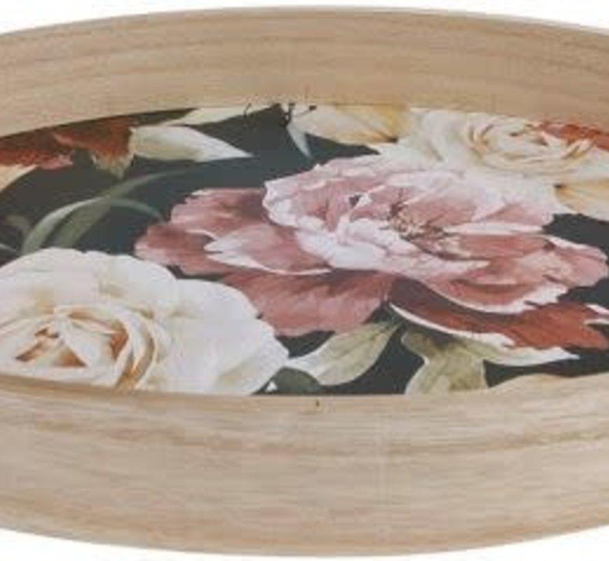 Houten dienblad met bloemen
