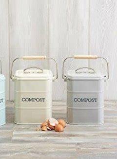 KitchenCraft; Engelse Kwaliteitsprodukten CompostBin, Afvalemmer GFT creme/groen/blue