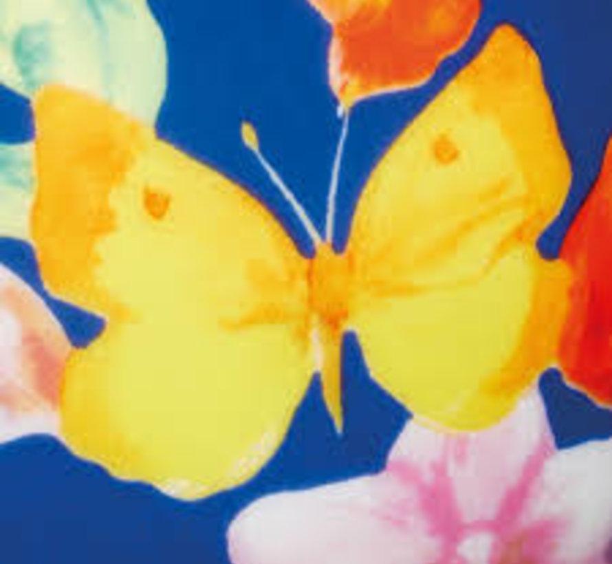 Mok op voet blauw met vlinders