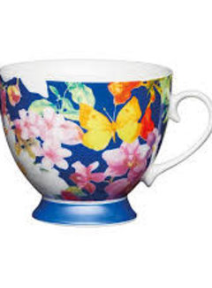 KitchenCraft; Engelse Kwaliteitsprodukten Mok op voet blauw met vlinders