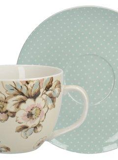 Katie Alice Cottage Flower; Compleet Vintage Servies met bloemen Ontbijtset kop en schotel
