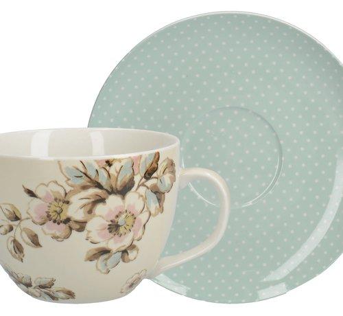 Katie Alice Cottage Flower; Compleet Vintage Servies met bloemen Copy of fine china ontbijtbord - roze