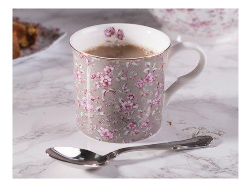 Katie Alice Ditsy Floral; Engels Servies met bloemen porseleinen mok- grijs bloemen