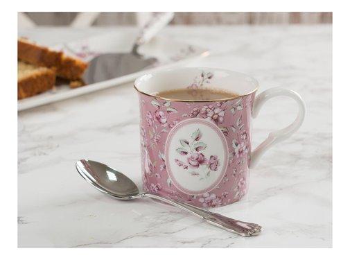 Katie Alice Ditsy Floral; Engels Servies met bloemen porseleinen mok roze met ovaal