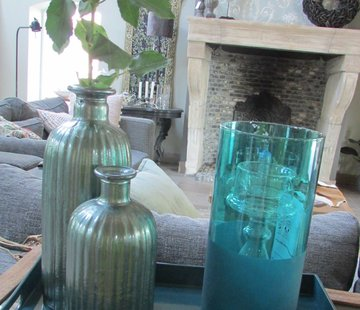Zisensa, private collection Unieke woonaccessoires Windlicht glas Petrol