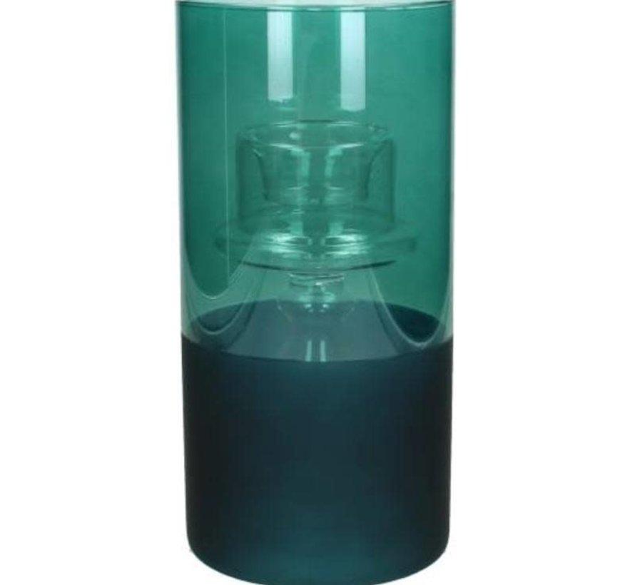 Windlicht glas Petrol