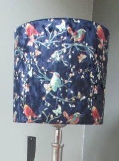 Diga by Colmore Lampenkap fluweel Birds d.blauw 20x20xh19cm.