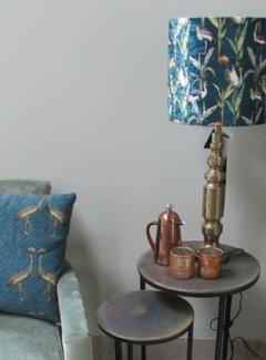 Diga by Colmore Lampenkap fluweel Kraanvogel petrol