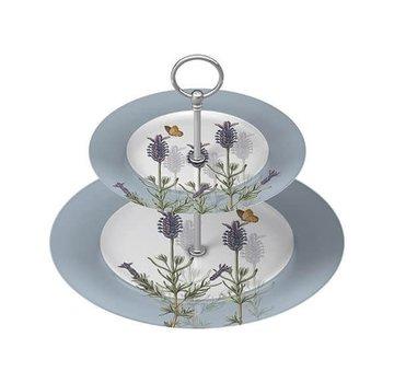 Kew Gardens; Engels servies met bloemen Lavender Etagere 2 laags