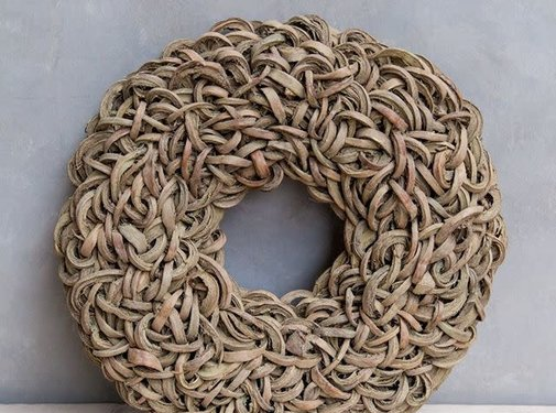 Couronne Krans Coco Wreath 40 cm. Yellow -Wash  95