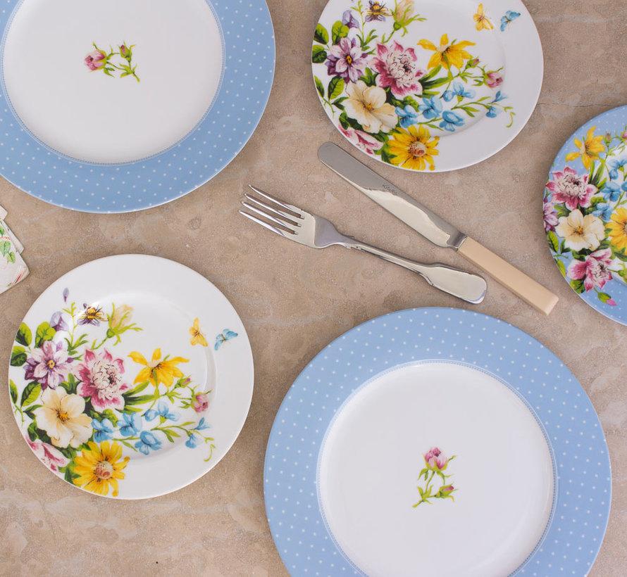 Ontbijtbord, white floral