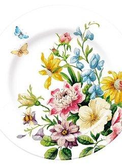 Katie Alice English Garden; Compleet Engels Porseleinen servies met bloemen Ontbijtbord, white floral