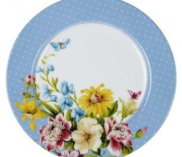 Katie Alice English Garden; Compleet Engels Porseleinen servies met bloemen Ontbijtbord, blauwe stippen