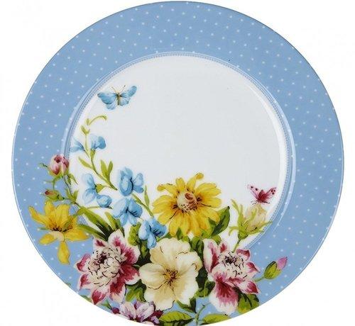 Katie Alice English Garden; Compleet Engels Porseleinen servies met bloemen Katie Alice English Garden Ontbijtbord, blauwe stippen