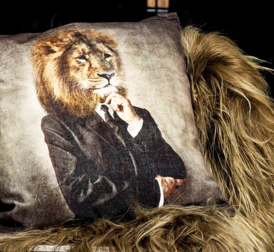 Fluwelen kussen Leeuw