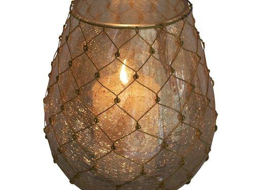 Zisensa, private collection Unieke woonaccessoires Waxinelicht filigrain4 bol goud 10cm