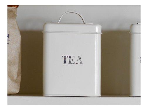 Stir It Up; Wit servies met tekst Voorraadblik thee -TEA-