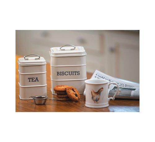 Stir It Up; Wit servies met tekst Voorraadblik koekjes -BISCUITS-