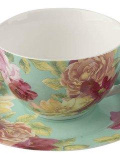 Kew Gardens; Engels servies met bloemen Southbourne Rose; Kop en schotel Groen