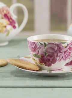 Kew Gardens; Engels servies met bloemen Copy of Southbourne Rose; Kop en schotel Groen