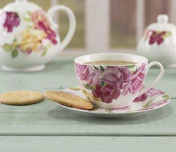 Kew Gardens; Engels servies met bloemen Southbourne Rose; Kop en schotel wit