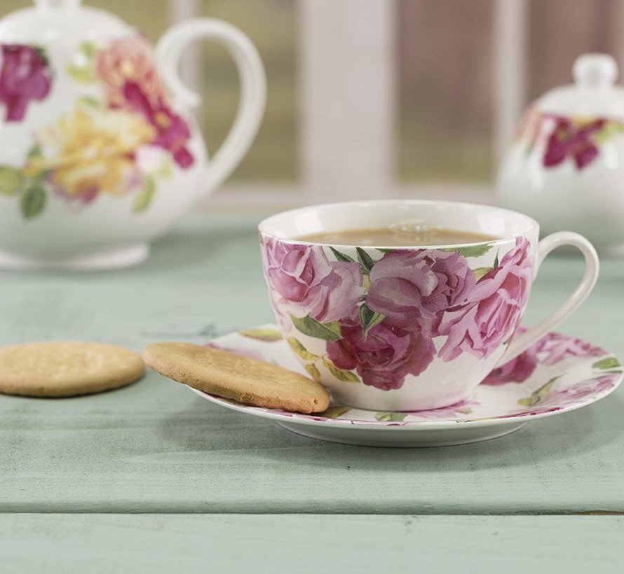 Southbourne Rose; Kop en schotel wit
