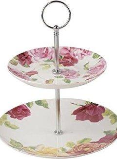 Kew Gardens; Engels servies met bloemen Southbourne Rose; 2 laags Etagere