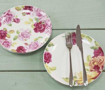 Kew Gardens; Engels servies met bloemen Southbourne Rose; Set 4 borden gebloemd